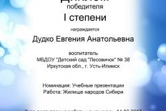 Диплом победителя Дудко Е.А.